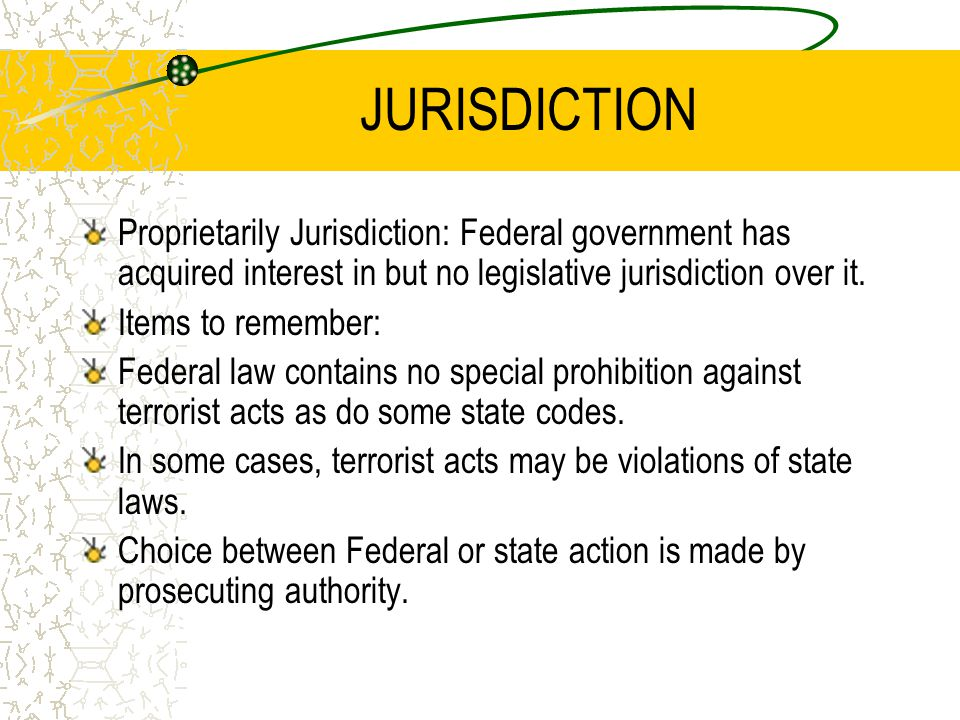 JURISDICTION Proprietarily Jurisdiction: Federal government has acquired interest in but no legislative jurisdiction over it.