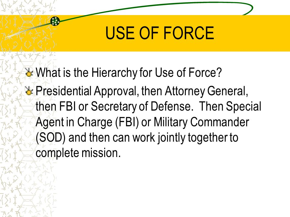 USE OF FORCE What is the Hierarchy for Use of Force.