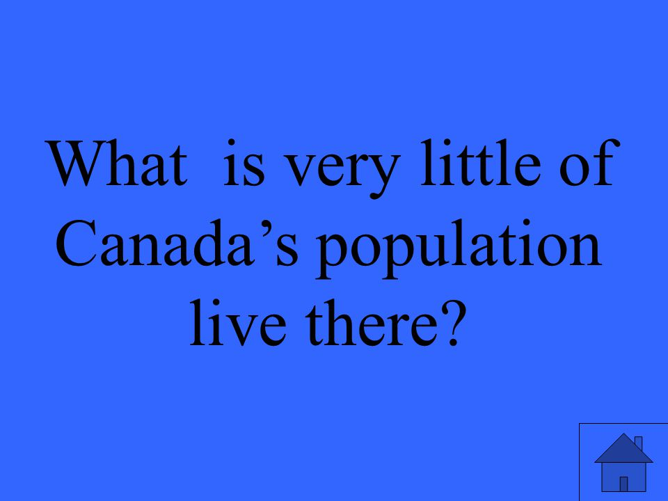 What is very little of Canada's population live there