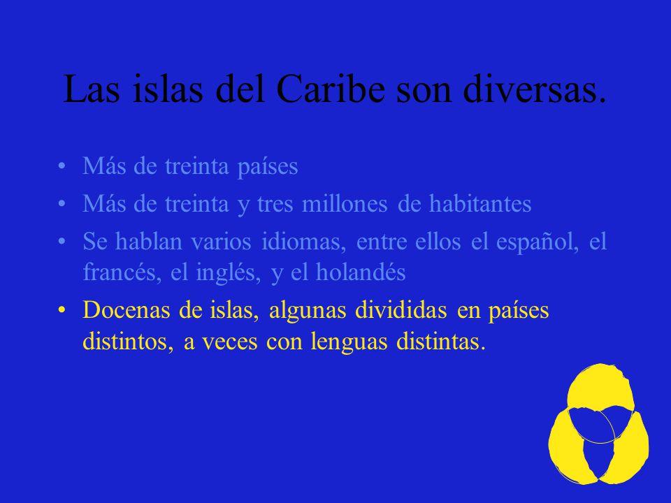 EspañolFrancésInglésHolandés Algunas de las lenguas del Caribe.