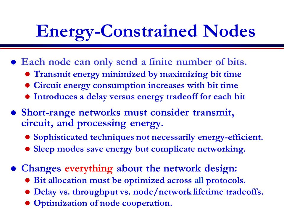 Energy-Constrained Nodes Each node can only send a finite number of bits.