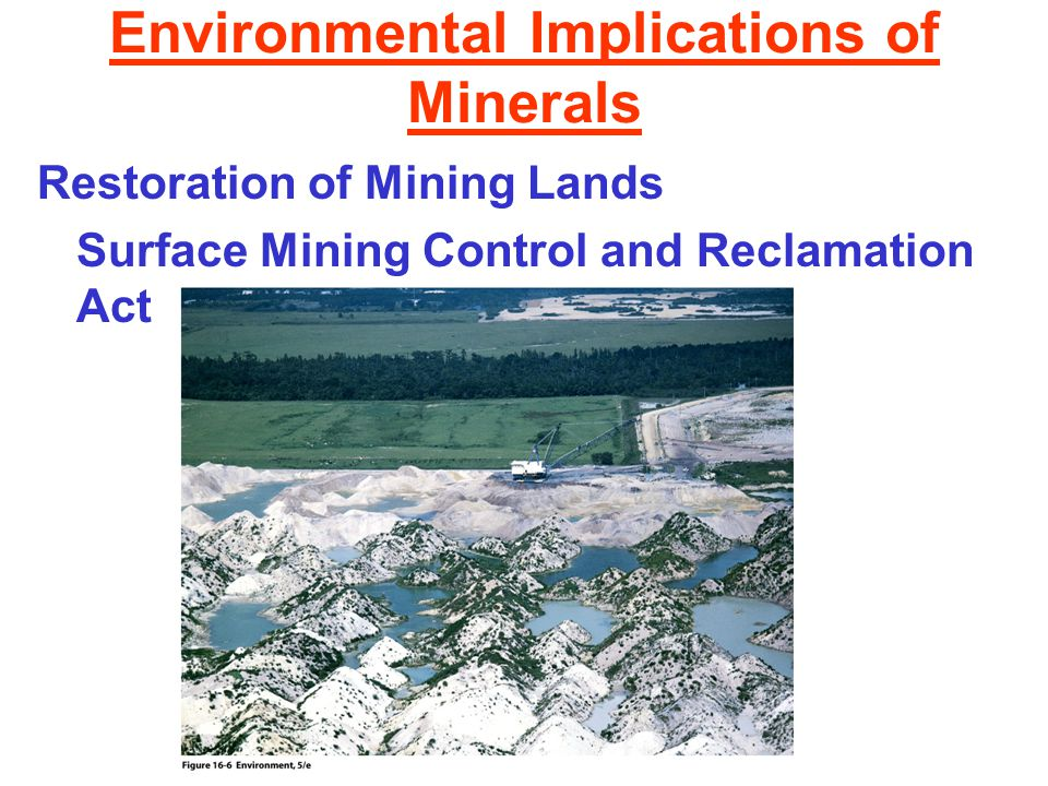 Environmental Implications of Minerals Restoration of Mining Lands Surface Mining Control and Reclamation Act