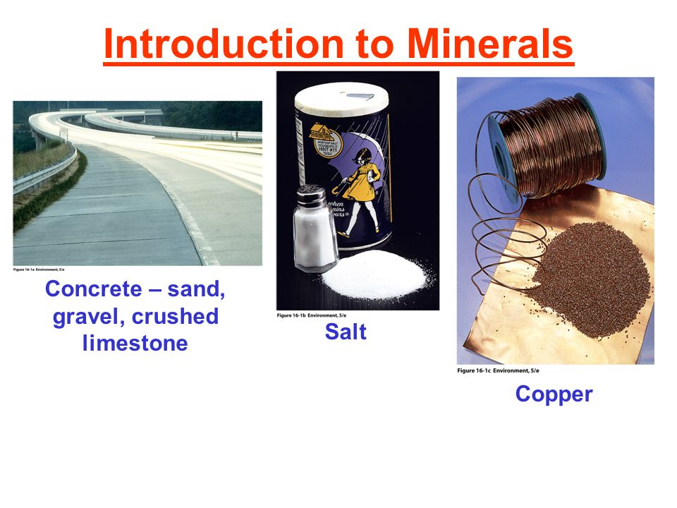 Introduction to Minerals Concrete – sand, gravel, crushed limestone Salt Copper