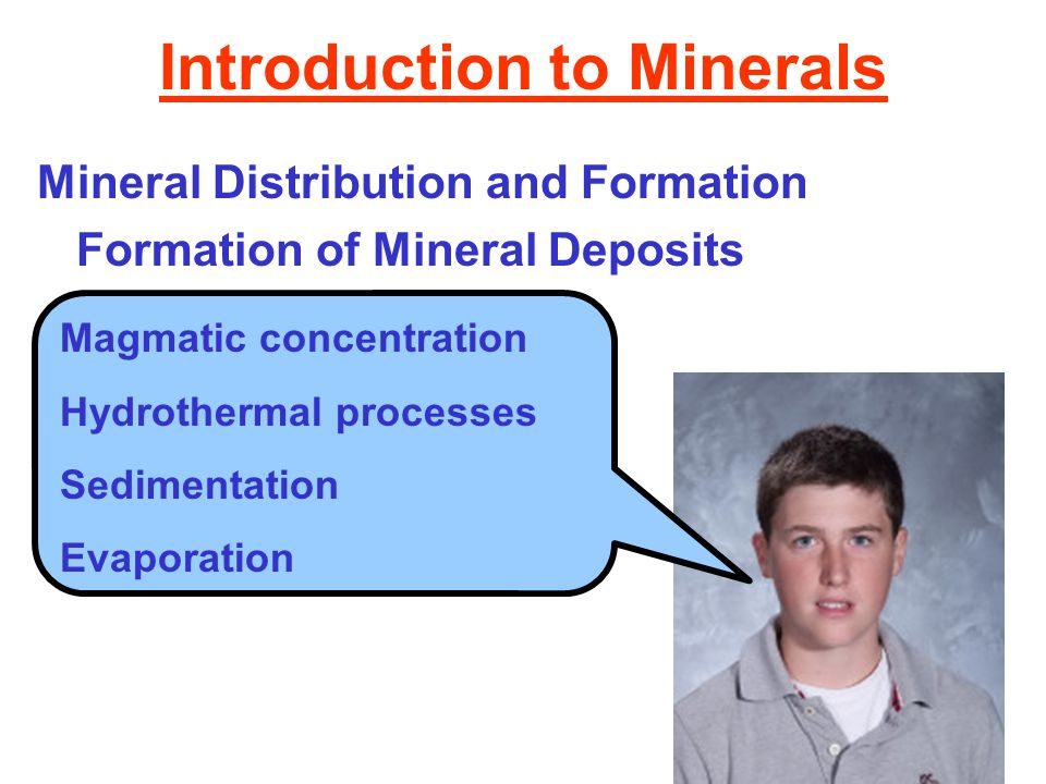 Introduction to Minerals Mineral Distribution and Formation Formation of Mineral Deposits Magmatic concentration Hydrothermal processes Sedimentation Evaporation