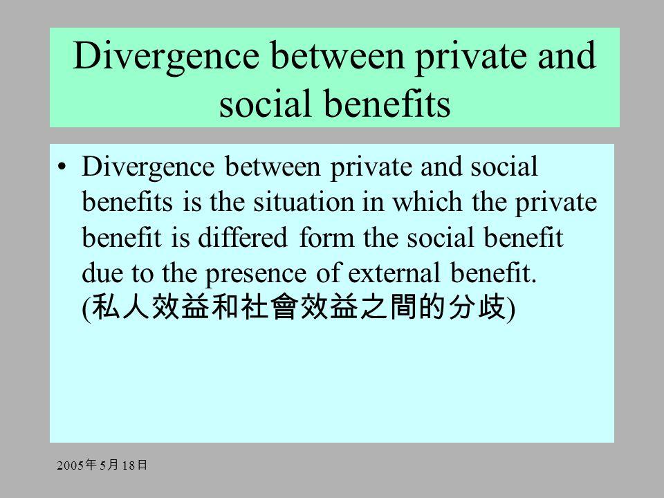 2005 年 5 月 18 日 Divergence between private and social benefits Divergence between private and social benefits is the situation in which the private benefit is differed form the social benefit due to the presence of external benefit.