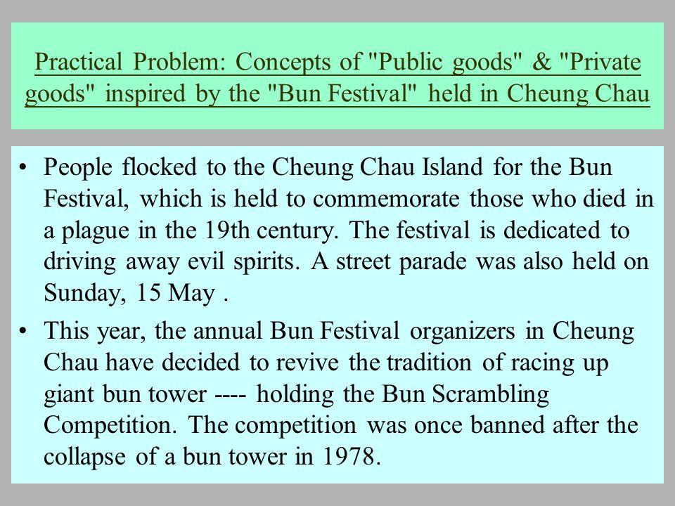2005 年 5 月 18 日 Practical Problem: Concepts of Public goods & Private goods inspired by the Bun Festival held in Cheung Chau People flocked to the Cheung Chau Island for the Bun Festival, which is held to commemorate those who died in a plague in the 19th century.