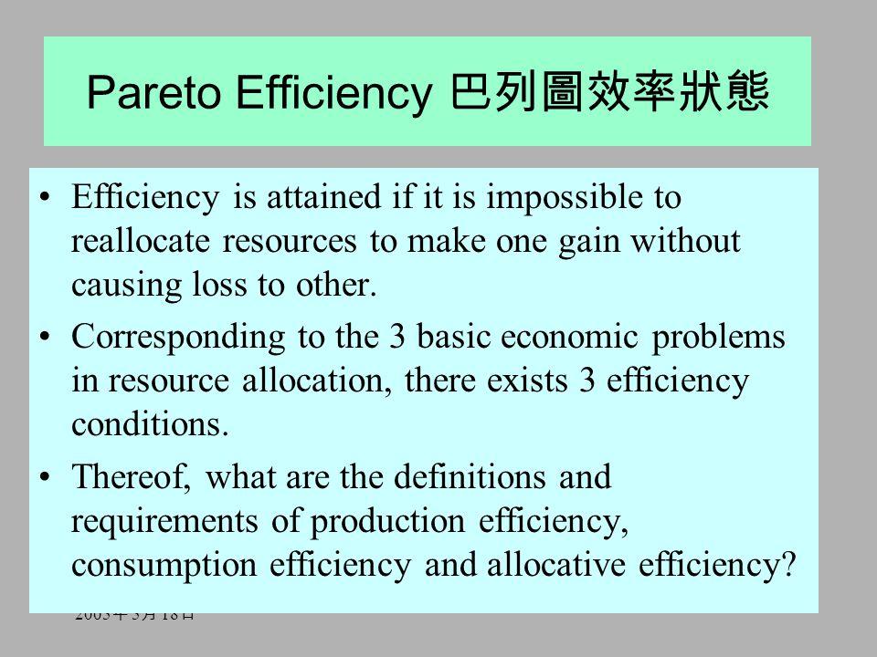 2005 年 5 月 18 日 Pareto Efficiency 巴列圖效率狀態 Efficiency is attained if it is impossible to reallocate resources to make one gain without causing loss to other.