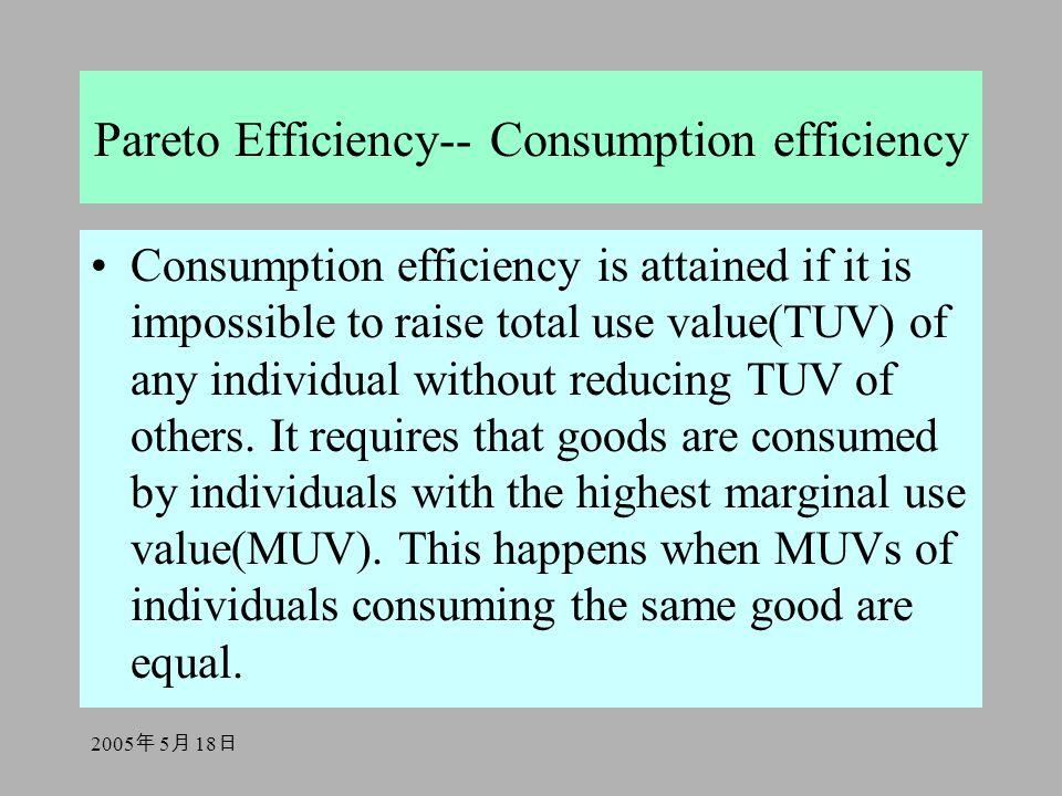 2005 年 5 月 18 日 Pareto Efficiency-- Consumption efficiency Consumption efficiency is attained if it is impossible to raise total use value(TUV) of any individual without reducing TUV of others.