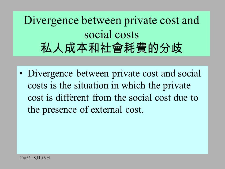 2005 年 5 月 18 日 Divergence between private cost and social costs 私人成本和社會耗費的分歧 Divergence between private cost and social costs is the situation in whi