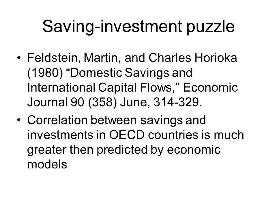 "Saving-investment puzzle Feldstein, Martin, and Charles Horioka (1980) ""Domestic Savings and International Capital Flows,"" Economic Journal 90 (358) J"