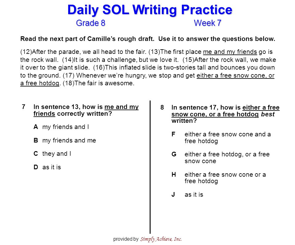 Grade 8Week 7 Daily SOL Writing Practice provided by Simply Achieve, Inc.