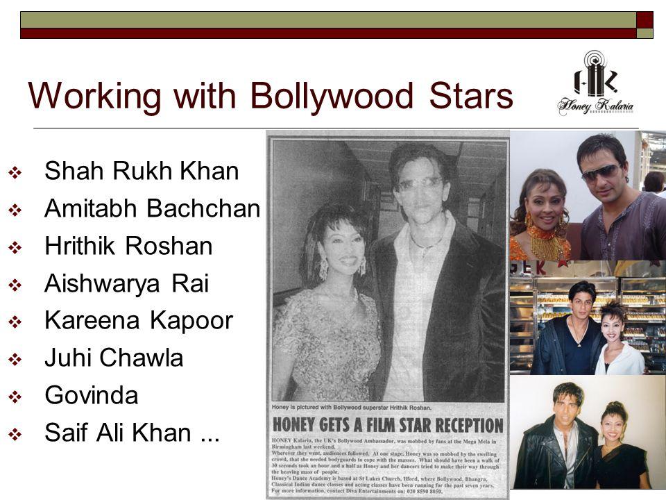 Working with Bollywood Stars  Shah Rukh Khan  Amitabh Bachchan  Hrithik Roshan  Aishwarya Rai  Kareena Kapoor  Juhi Chawla  Govinda  Saif Ali Khan...