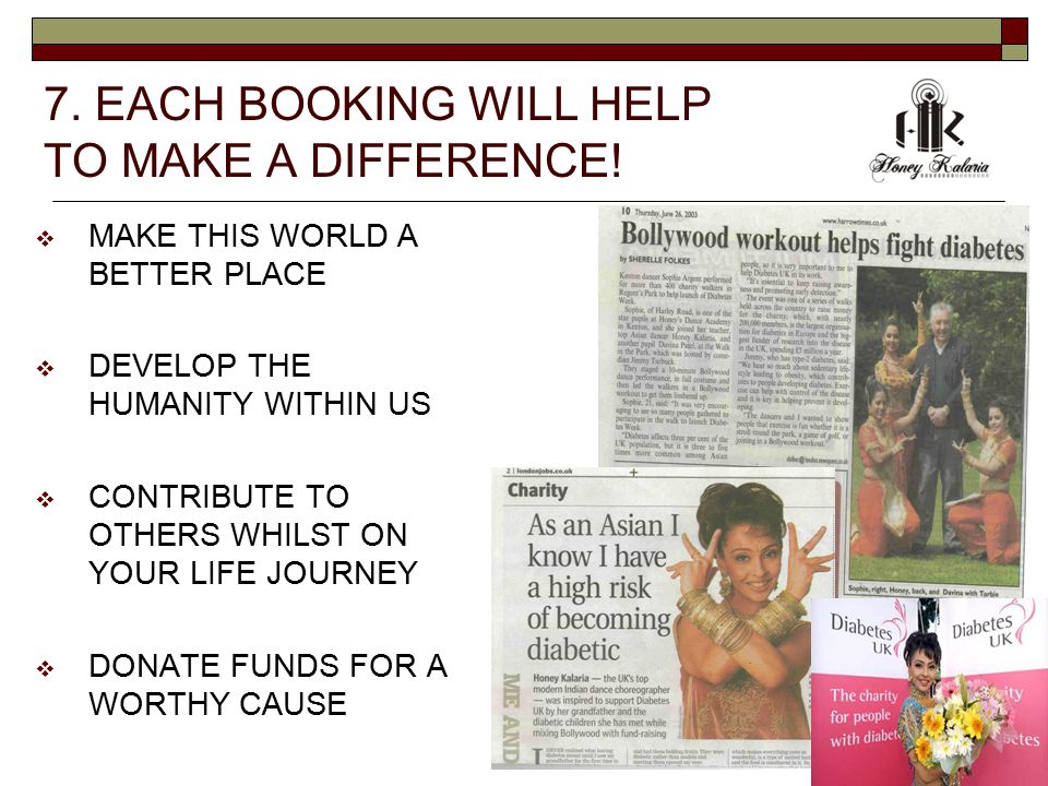 7. EACH BOOKING WILL HELP TO MAKE A DIFFERENCE.