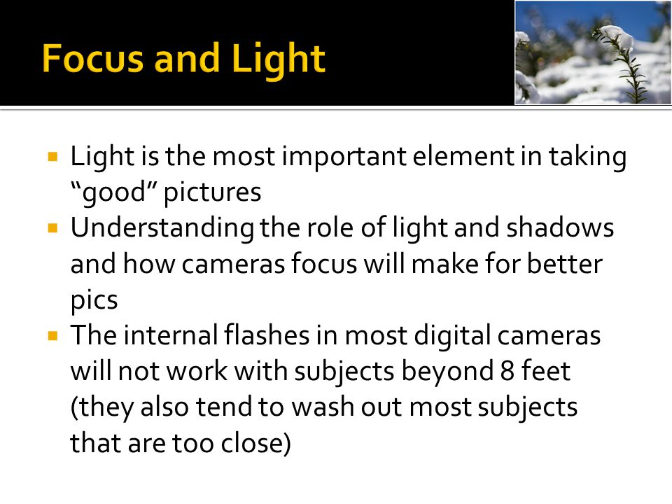 """ Light is the most important element in taking """"good"""" pictures  Understanding the role of light and shadows and how cameras focus will make for bett"""