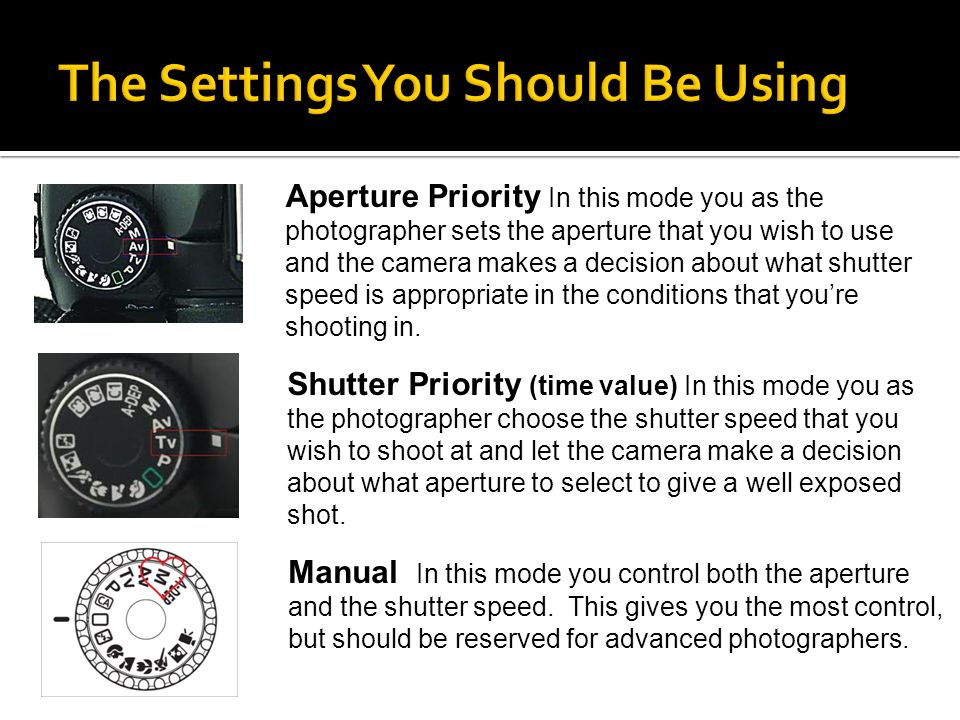 Aperture Priority In this mode you as the photographer sets the aperture that you wish to use and the camera makes a decision about what shutter speed is appropriate in the conditions that you're shooting in.