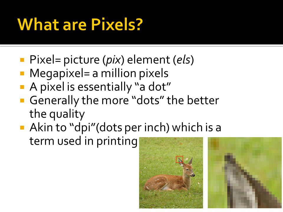 """ Pixel= picture (pix) element (els)  Megapixel= a million pixels  A pixel is essentially """"a dot""""  Generally the more """"dots"""" the better the quality"""