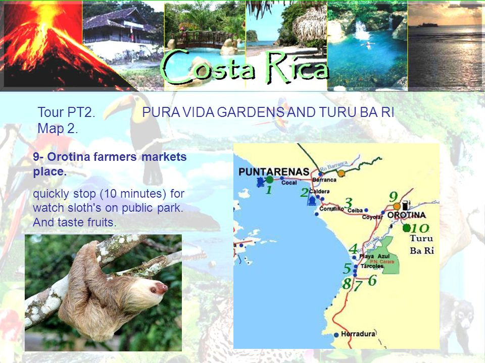 Tour PT2. PURA VIDA GARDENS AND TURU BA RI Map 2. 9- Orotina farmers markets place. quickly stop (10 minutes) for watch sloth's on public park. And ta