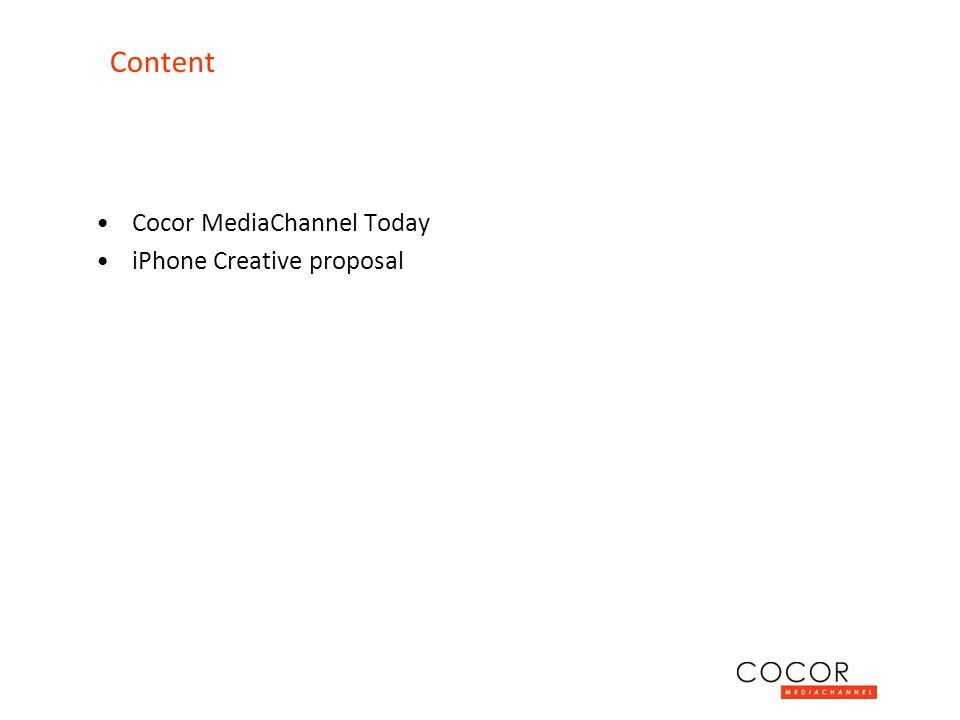 Cocor MediaChannel Today iPhone Creative proposal Content