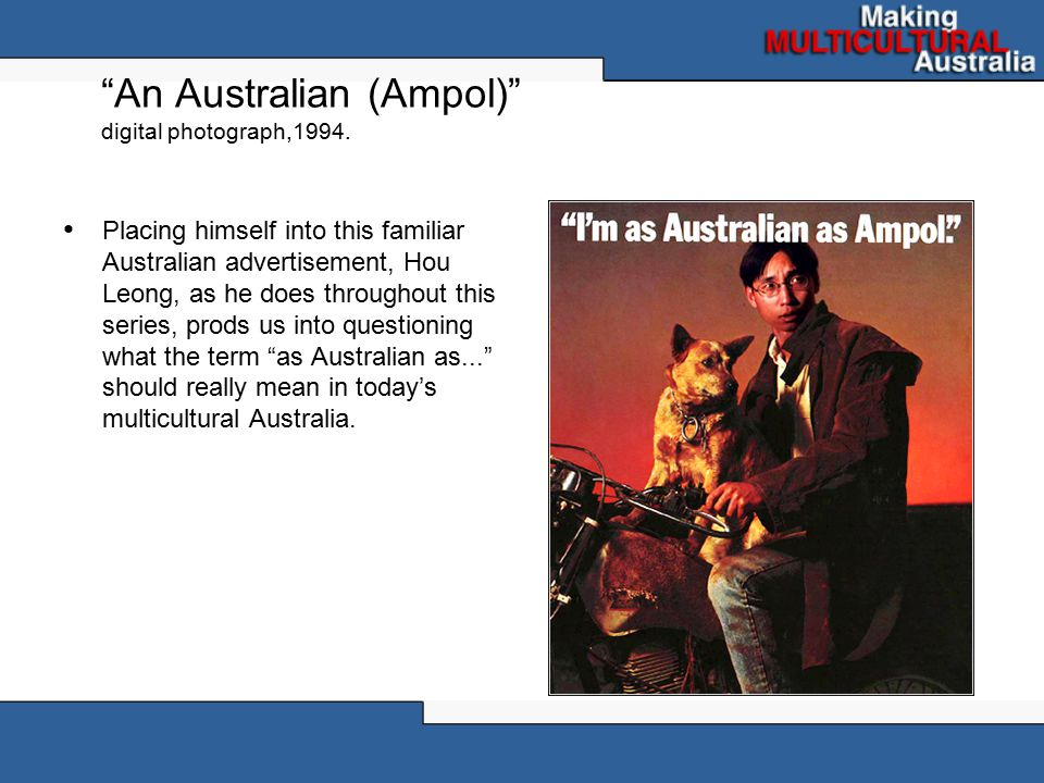 """An Australian (Ampol)"" digital photograph,1994. Placing himself into this familiar Australian advertisement, Hou Leong, as he does throughout this se"