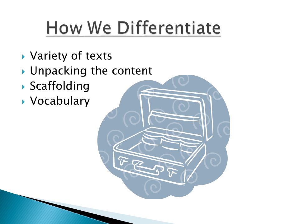  Variety of texts  Unpacking the content  Scaffolding  Vocabulary