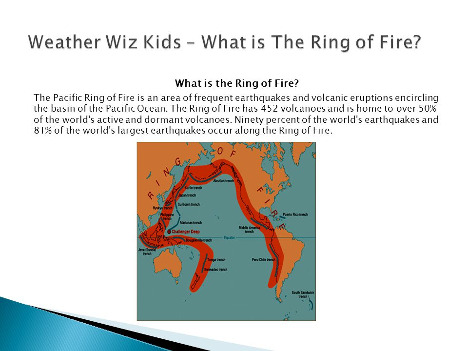 What is the Ring of Fire? The Pacific Ring of Fire is an area of frequent earthquakes and volcanic eruptions encircling the basin of the Pacific Ocean