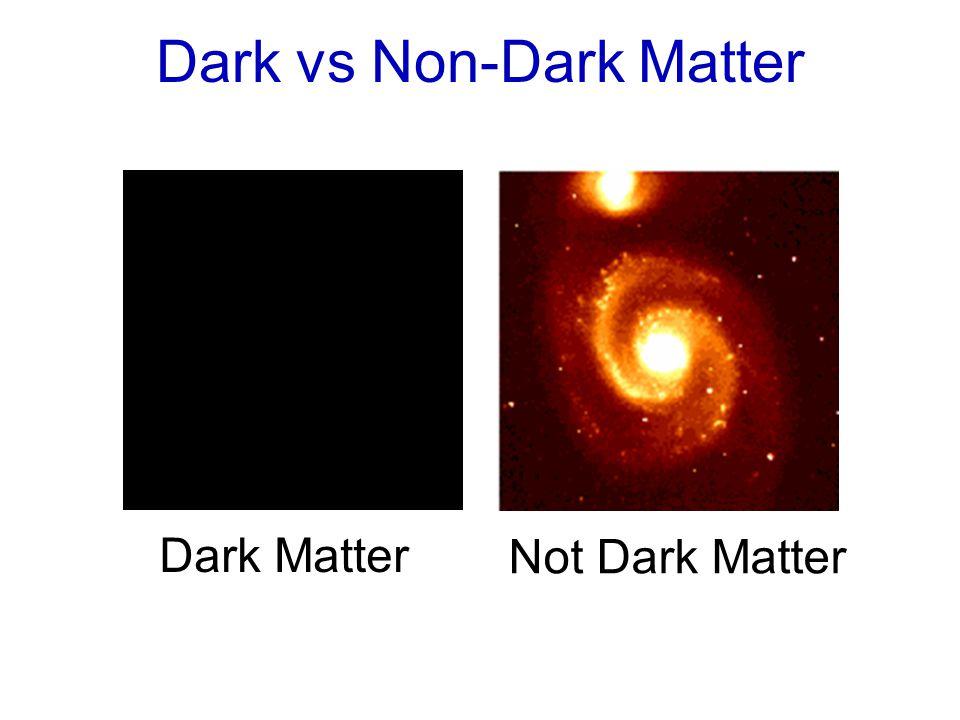 Dark vs Non-Dark Matter Dark Matter Not Dark Matter