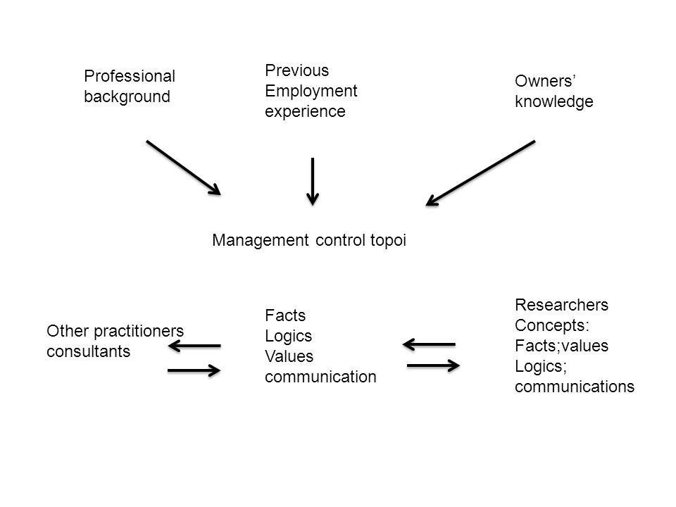 Management control topoi Professional background Previous Employment experience Owners' knowledge Facts Logics Values communication Other practitioners consultants Researchers Concepts: Facts;values Logics; communications