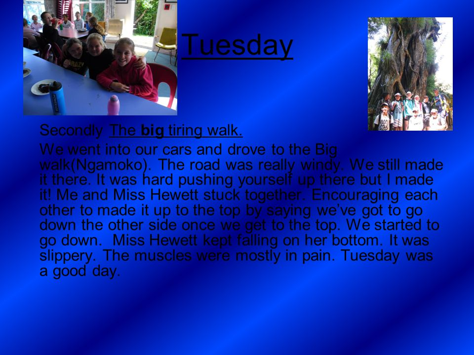 Tuesday Secondly The big tiring walk. We went into our cars and drove to the Big walk(Ngamoko).