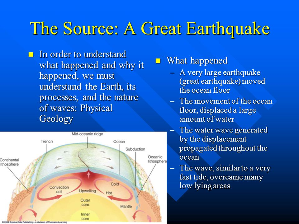 The Source: A Great Earthquake In order to understand what happened and why it happened, we must understand the Earth, its processes, and the nature of waves: Physical Geology In order to understand what happened and why it happened, we must understand the Earth, its processes, and the nature of waves: Physical Geology What happened –A very large earthquake (great earthquake) moved the ocean floor –The movement of the ocean floor, displaced a large amount of water –The water wave generated by the displacement propagated throughout the ocean –The wave, similar to a very fast tide, overcame many low lying areas