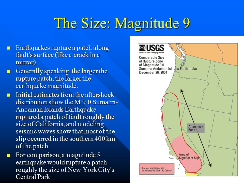 The Size: Magnitude 9 Earthquakes rupture a patch along fault s surface (like a crack in a mirror).