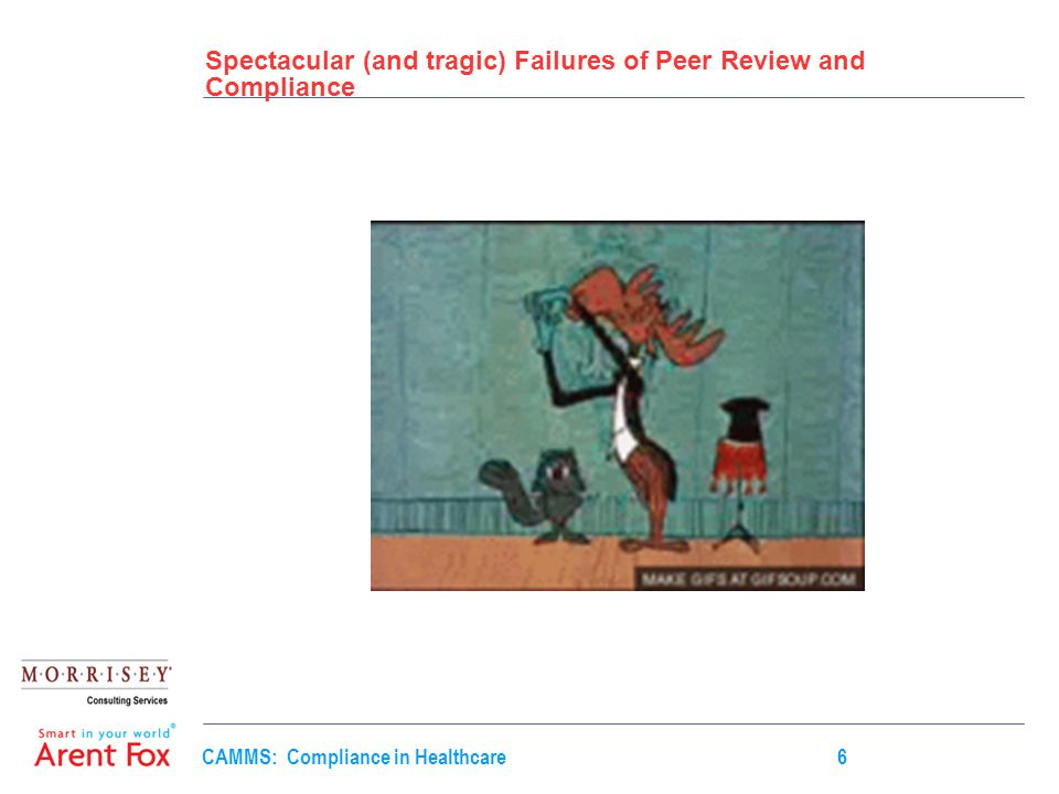CAMMS: Compliance in Healthcare6 Spectacular (and tragic) Failures of Peer Review and Compliance