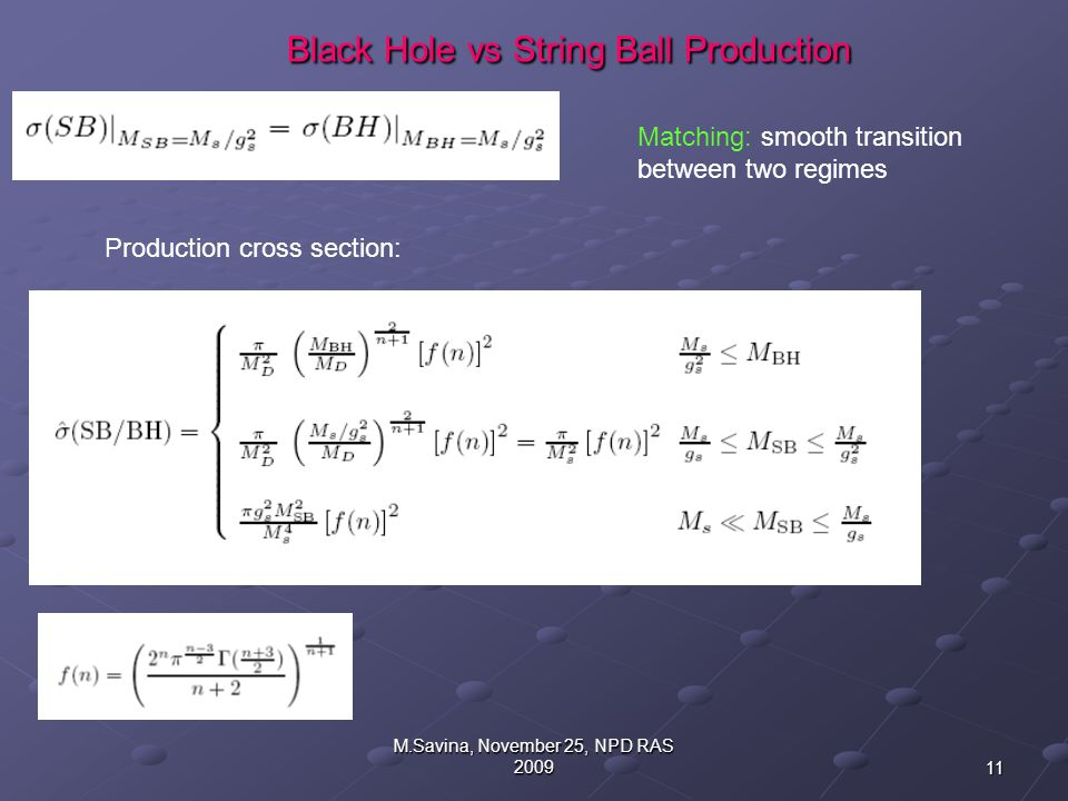 11 M.Savina, November 25, NPD RAS 2009 Black Hole vs String Ball Production Black Hole vs String Ball Production Matching: smooth transition between two regimes Production cross section: