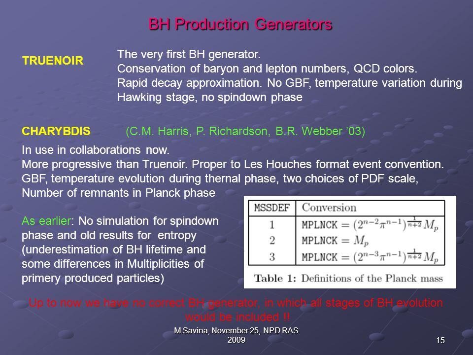 15 M.Savina, November 25, NPD RAS 2009 BH Production Generators BH Production Generators TRUENOIR CHARYBDIS(C.M.