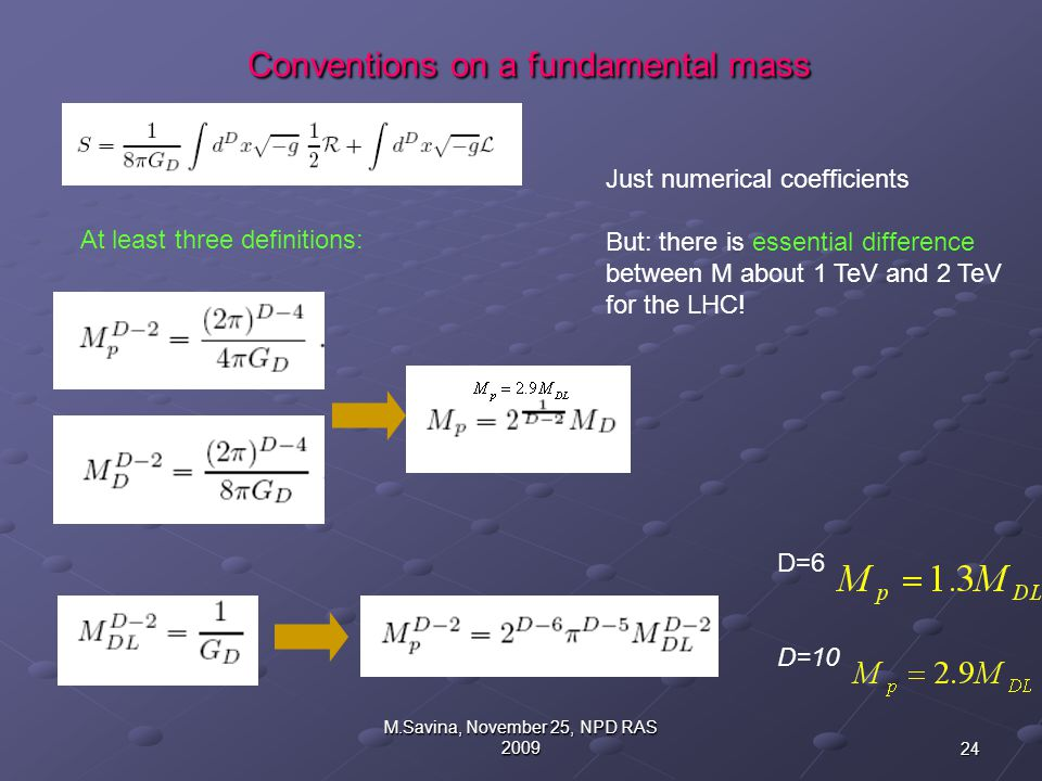 24 M.Savina, November 25, NPD RAS 2009 Conventions on a fundamental mass Conventions on a fundamental mass D=6 D=10 At least three definitions: Just numerical coefficients But: there is essential difference between M about 1 TeV and 2 TeV for the LHC!