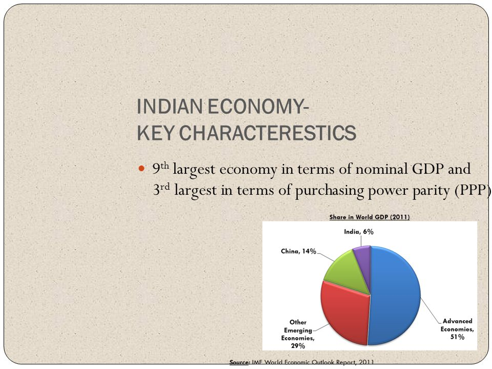 INDIAN ECONOMY- KEY CHARACTERESTICS 9 th largest economy in terms of nominal GDP and 3 rd largest in terms of purchasing power parity (PPP)