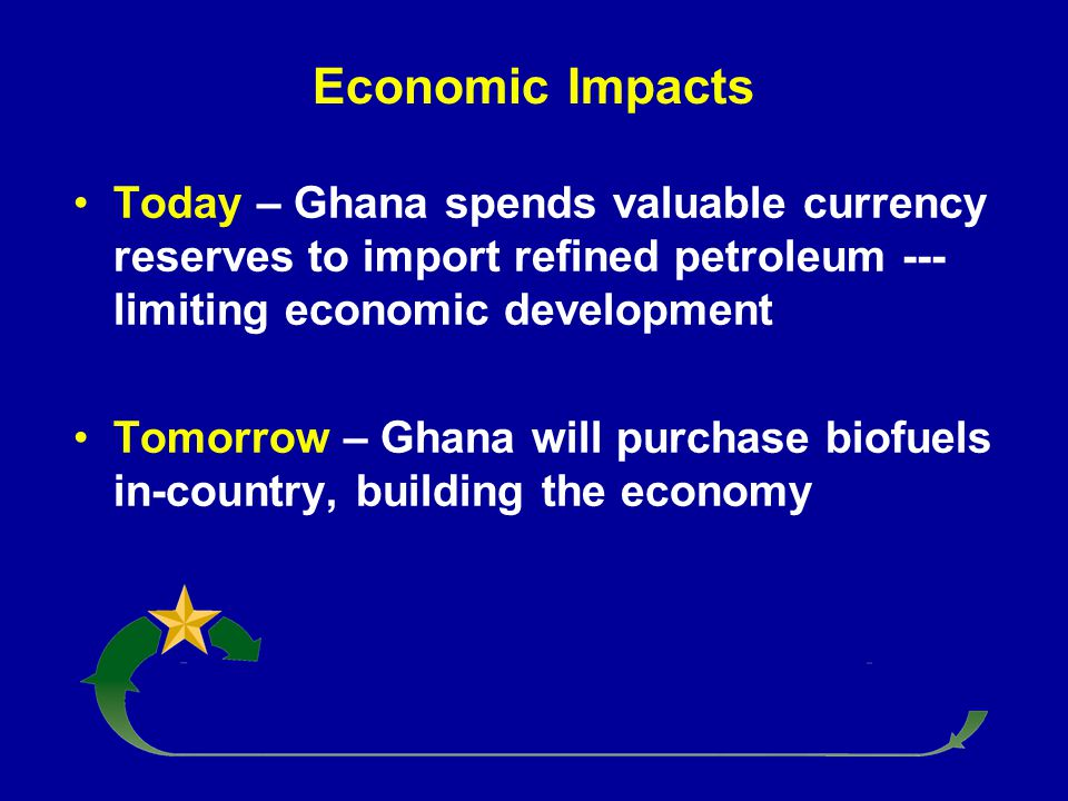 Economic Impacts Today – Ghana spends valuable currency reserves to import refined petroleum --- limiting economic development Tomorrow – Ghana will p