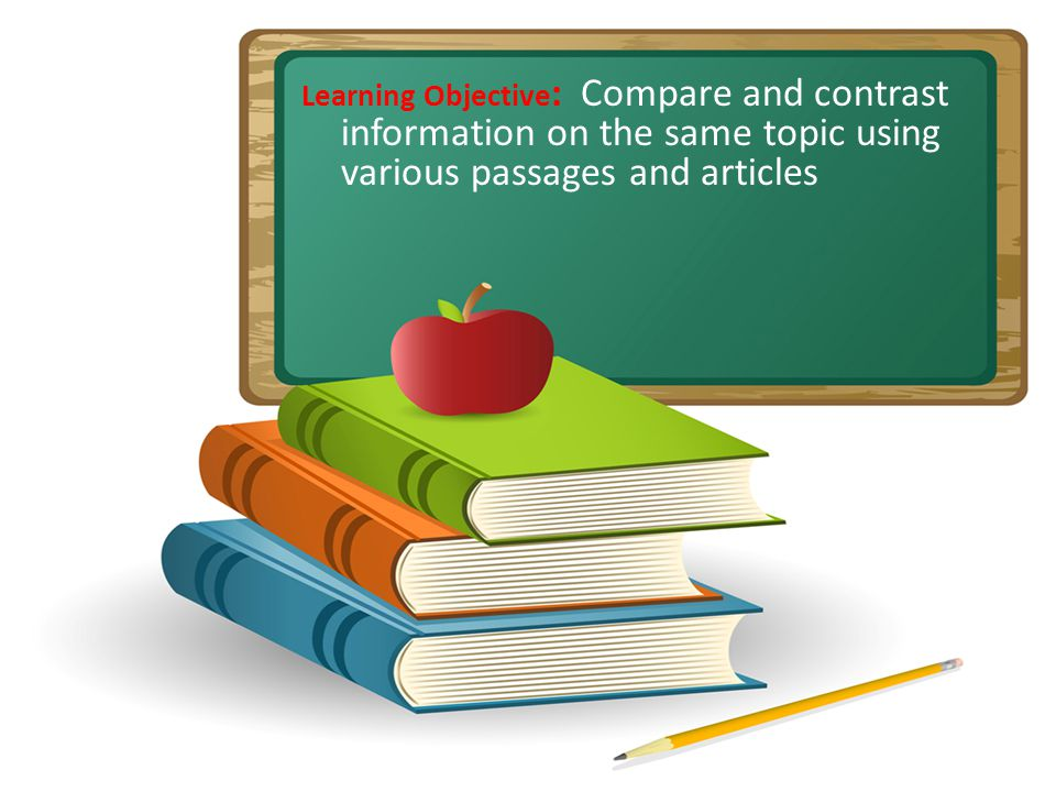 Learning Objective : Compare and contrast information on the same topic using various passages and articles