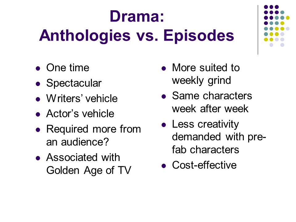 Drama: Anthologies vs. Episodes One time Spectacular Writers' vehicle Actor's vehicle Required more from an audience? Associated with Golden Age of TV