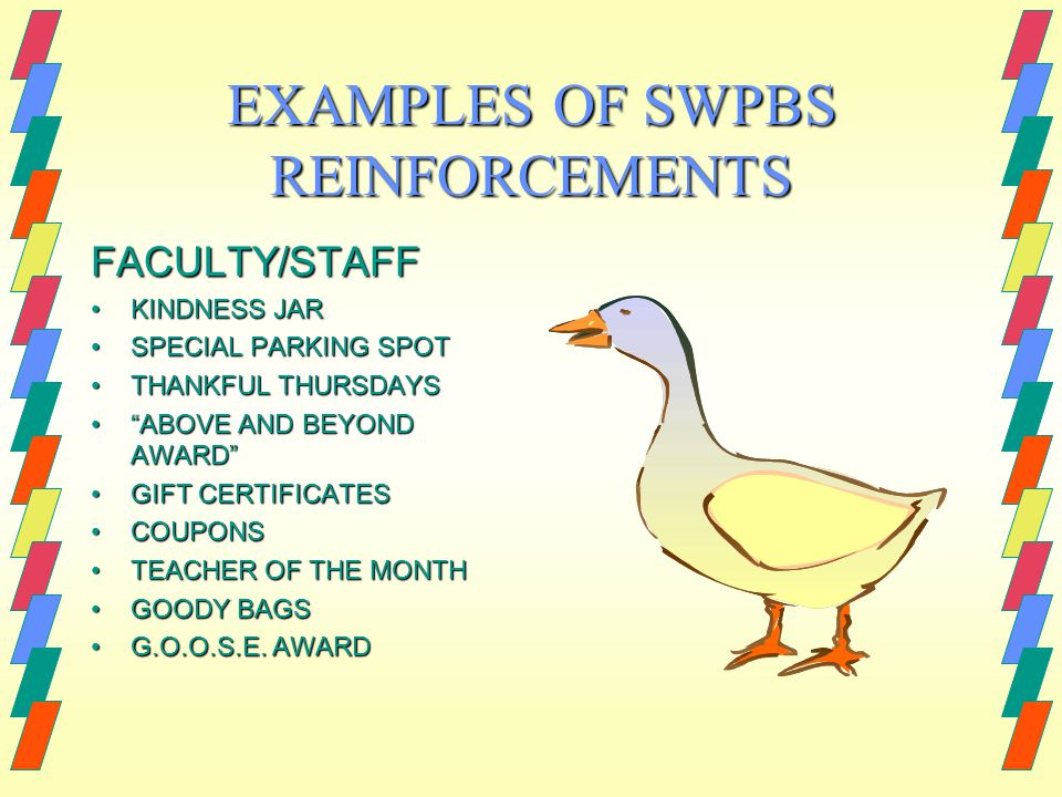EXAMPLES OF SWPBS REINFORCEMENTS FACULTY/STAFF KINDNESS JARKINDNESS JAR SPECIAL PARKING SPOTSPECIAL PARKING SPOT THANKFUL THURSDAYSTHANKFUL THURSDAYS ABOVE AND BEYOND AWARD ABOVE AND BEYOND AWARD GIFT CERTIFICATESGIFT CERTIFICATES COUPONSCOUPONS TEACHER OF THE MONTHTEACHER OF THE MONTH GOODY BAGSGOODY BAGS G.O.O.S.E.