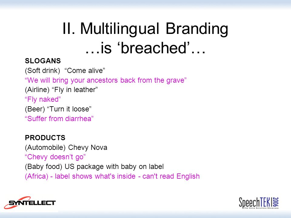 "II. Multilingual Branding …is 'breached'… SLOGANS (Soft drink) ""Come alive"" ""We will bring your ancestors back from the grave"" (Airline) ""Fly in leath"