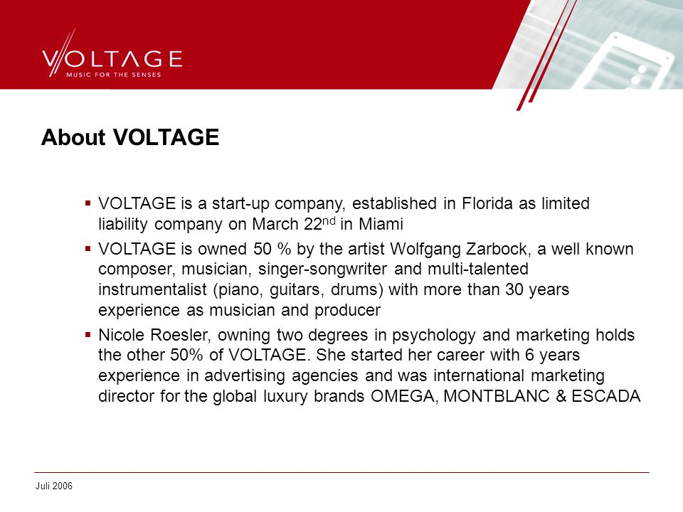 About VOLTAGE  VOLTAGE is a start-up company, established in Florida as limited liability company on March 22 nd in Miami  VOLTAGE is owned 50 % by