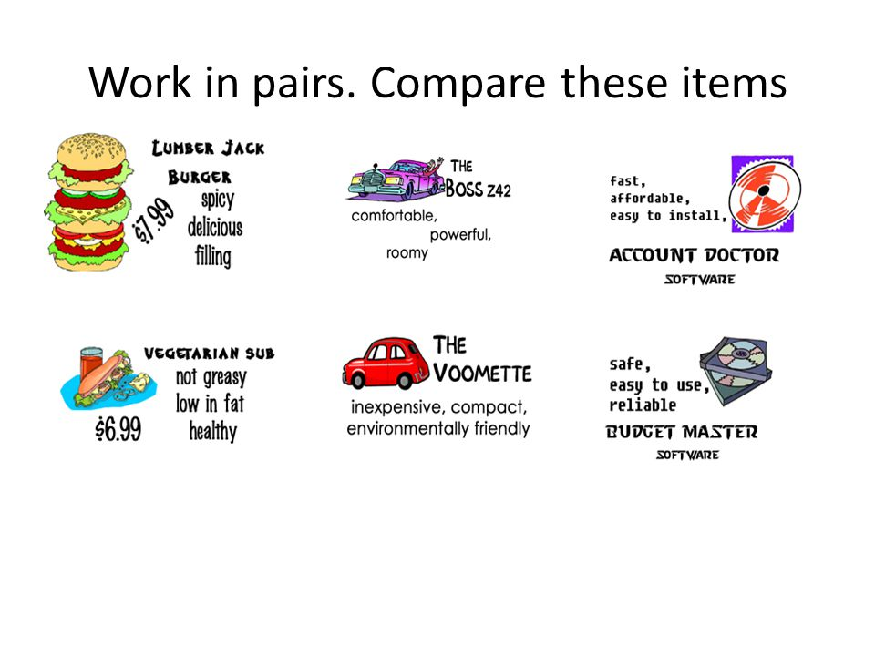 Work in pairs. Compare these items