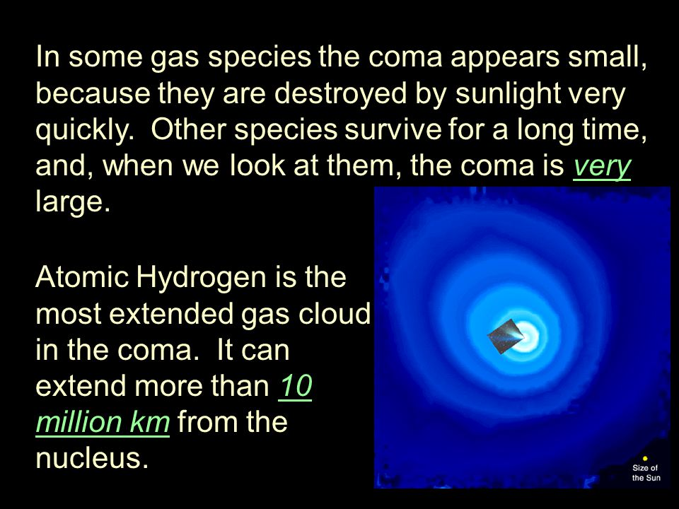 In some gas species the coma appears small, because they are destroyed by sunlight very quickly.