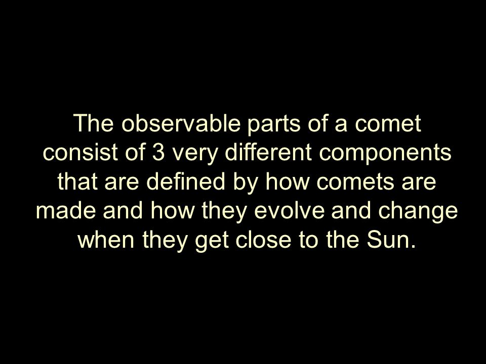 The observable parts of a comet consist of 3 very different components that are defined by how comets are made and how they evolve and change when they get close to the Sun.