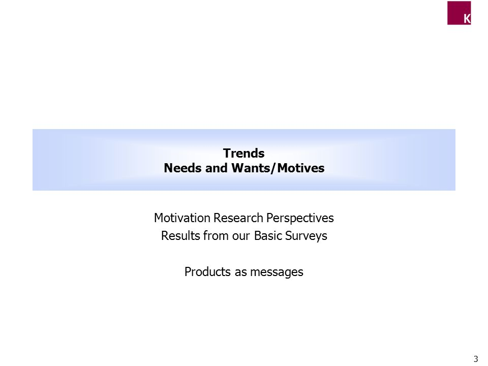 3 Trends Needs and Wants/Motives Motivation Research Perspectives Results from our Basic Surveys Products as messages