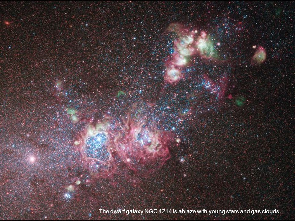The dwarf galaxy NGC 4214 is ablaze with young stars and gas clouds.