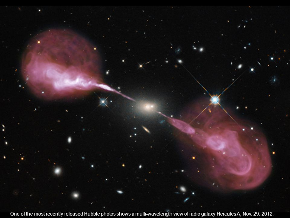One of the most recently released Hubble photos shows a multi-wavelength view of radio galaxy Hercules A, Nov. 29. 2012.