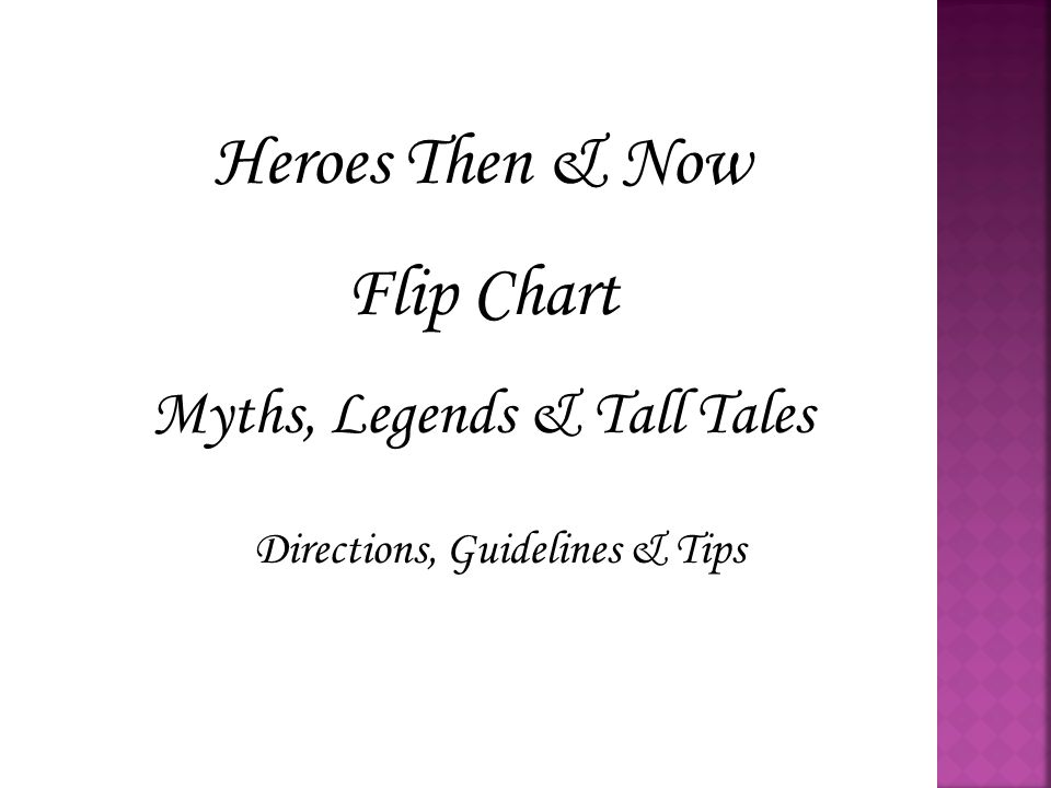 You will be creating a Flip Chart that demonstrates what you have learned in English 7HP about ancient and modern heroes.