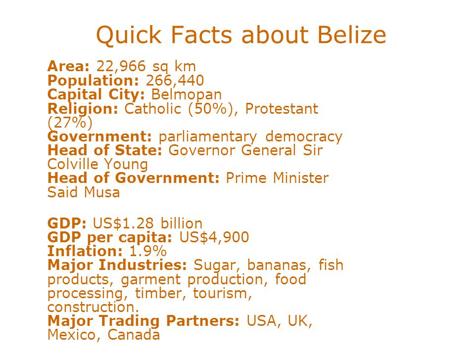 Quick Facts about Belize Area: 22,966 sq km Population: 266,440 Capital City: Belmopan Religion: Catholic (50%), Protestant (27%) Government: parliame