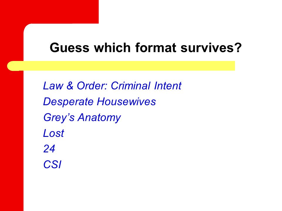 Guess which format survives? Law & Order: Criminal Intent Desperate Housewives Grey's Anatomy Lost 24 CSI